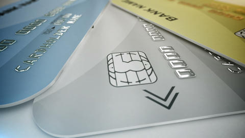 Credit cards on white Animation