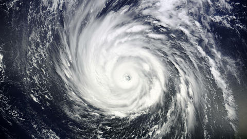 Giant hurricane seen from the space Animation