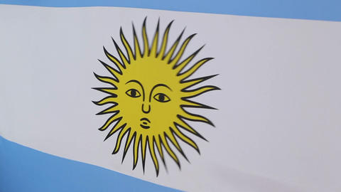 Closeup of flag of Argentina in slow motion Footage
