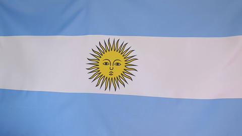 Textile flag of Argentina in slow motion Footage