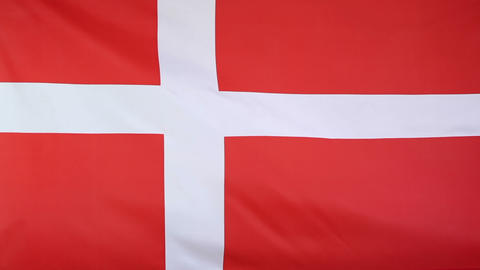 Textile flag of Denmark Footage