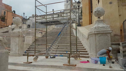 Rome, Italy 17 June 2016. A female worker restoring the famous Spanish Steps. Vi Footage