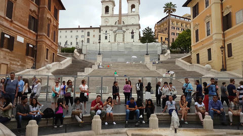 Rome, Italy 17 June 2016. Tourists at The closed Spanish Steps (Piazza di Spagna Footage