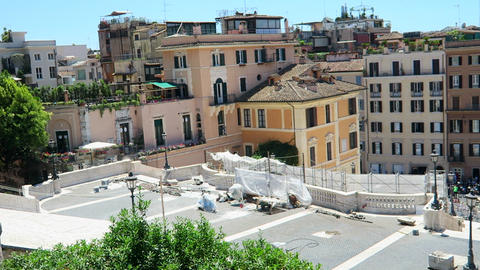 Rome Italy 17 June 2016. Part of equipment used for Spanish Steps restoration. S Footage