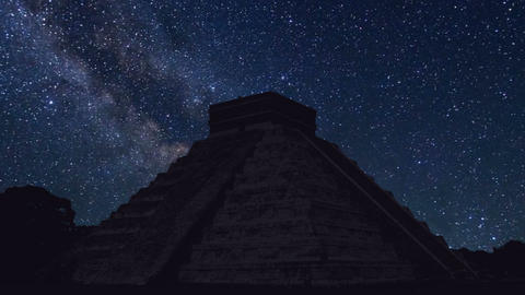 Chichen Itza time lapse at night with stars Footage
