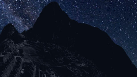 machu Picchu time lapse at night with stars Footage