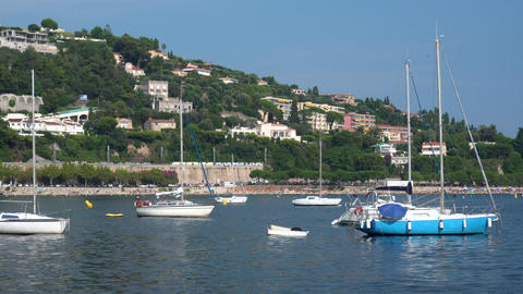Yachts in Villefranche in France - Medium Shot Live Action