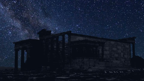 Acropolis time lapse at night with stars Footage