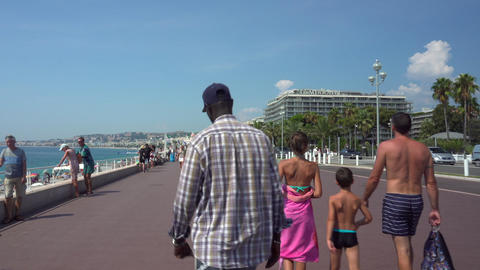 People on the Promenade at Nice in France Live Action