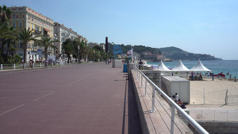 Promenade des Anglais in Nice in France - Pan Live Action