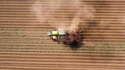 Agricultural machinery in the potato field cultivates the land Footage
