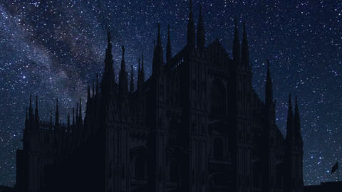 time lapse of night Milan Cathedral, Italy Footage