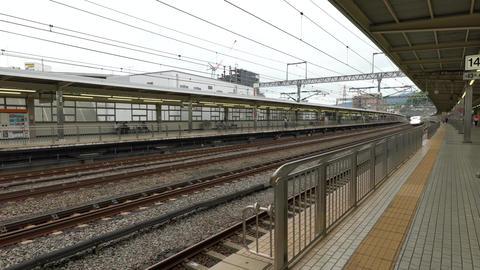 Kanagawa,Japan-July 12, 2019: JR Shinkansen or a bullet train passes Odawara Live Action