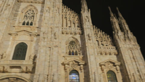 Spectacular view of gothic Cathedral Church of Milan in Lombardy, northern Italy Footage