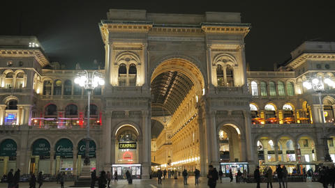 Beautiful view of Vittorio Emanuele II Gallery called Milan's drawing room Footage
