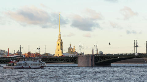 Amazing scenery of beautiful Tuchkov Bridge and famous Peter and Paul fortress Live Action