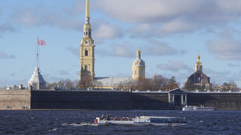 Wonderful scenery of beautiful Neva river and famous Peter and Paul fortress Live Action