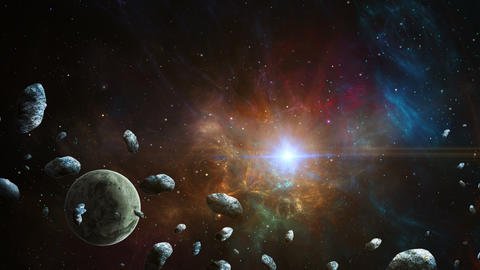 Space scene. Planet with asteroid and colorful fractal nebula. Elements furnished by NASA. 3D Animation
