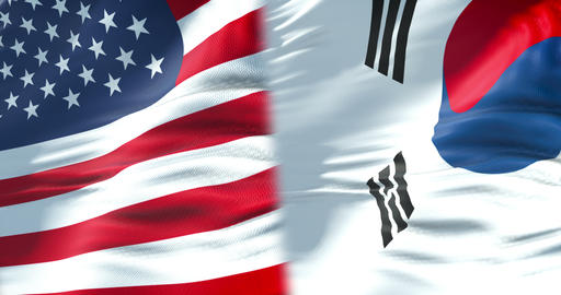 half flags of united states of america and half south korea flag, crisis between usa american and Footage