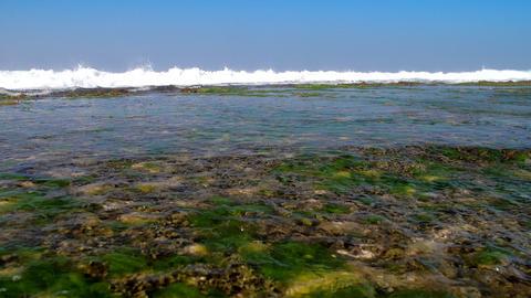 huge foaming ocean waves under blue sky slow motion Footage