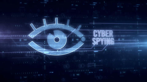 Cyber spying with eye blue hologram Animation