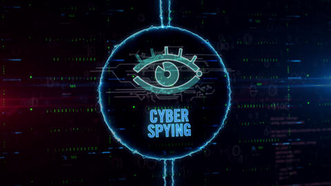 Cyber security with spying eye hologram in electric circle Animation