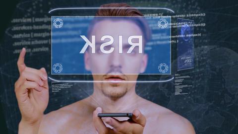 Guy interacts HUD hologram Risk Live Action