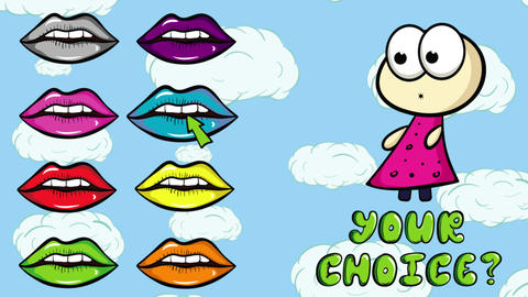 Lips colorful and choice cloud Animation