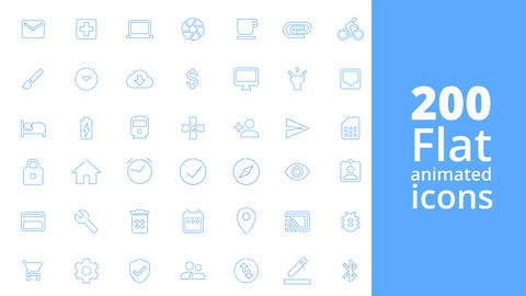 200 Flat animated icons After Effects Template