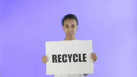 Afro-American Girl Activist With Recycle Poster showing thumb up on Violet Live Action