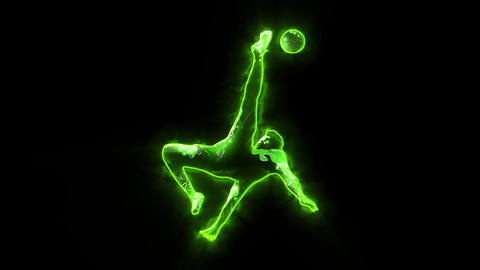 Green Soccer Player Animated Logo with Reveal Effect Animation