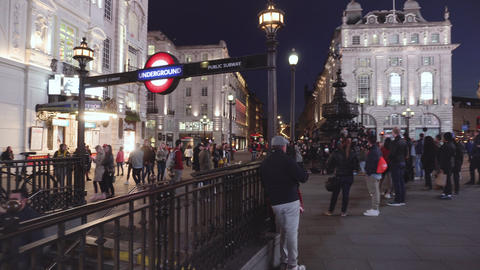 London, United Kingdom -May 13, 2109 : Picadilly circus at night with famous Live Action