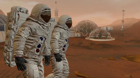 Colony on Mars. Two Astronauts Walking On The Surface Of Mars. Exploring Mission Footage