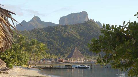 Bora Bora perfect beach resort and Mount Otemanu in Tahiti French Polynesia Live Action