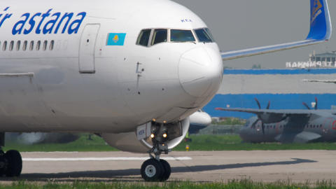 Air Astana Boeing 767 taxiing Footage