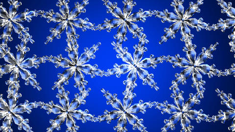 Clear snow crystals on blue background Stock Video Footage