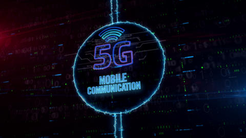5G hologram in electric circle Animation