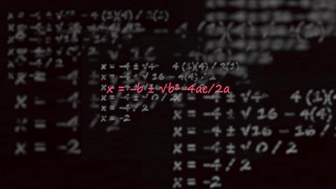 Example of quadratic formula with flying dissolving formulas in background chalkboard neon Live影片