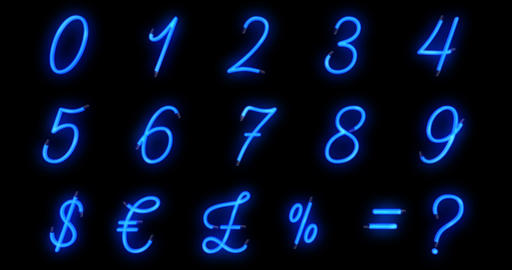 turn on turn off, seamless loop ready, neon font blue alphabet number numeric word text series Footage