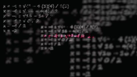 Quadratic formula with flying dissolving formulas in background chalkboard Footage