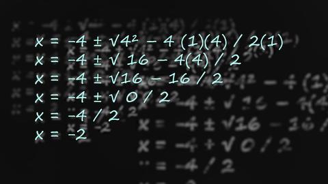 Quadratic Formula written on blackboard dissolving copies under Live影片
