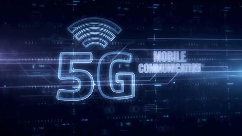 5G mobile communication blue hologram Animation