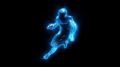 Blue American Football Player Animated Logo with Reveal Effect Videos animados
