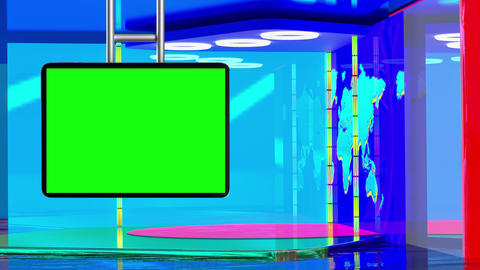 Virtual TV studio with suspended green screen07 Live影片