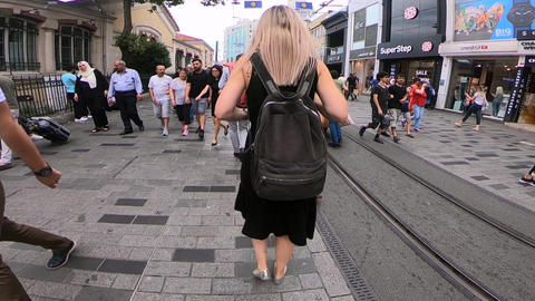 Walking view of people in Istanbul GIF
