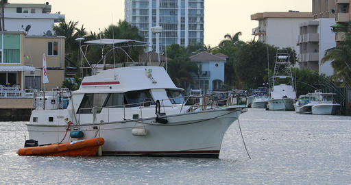 Small Fishing Boat In Sunny Isles Beach Live Action
