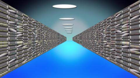 Server racks perspective blue 2 Live影片