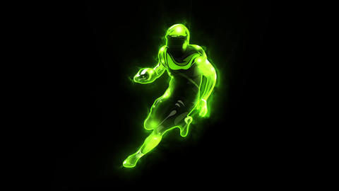 Green American Football Player Animated Logo with Reveal Effect Videos animados