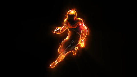Orange American Football Player Animated Logo with Reveal Effect Videos animados
