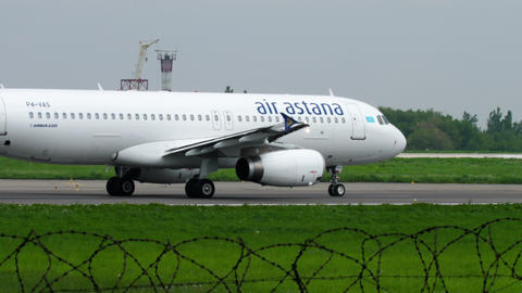 Air Astana Airbus A320 taxiing Footage
